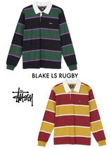 STUSSY Stripes Unisex Street Style Long Sleeves Polos