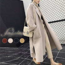 Plain Long Midi Dark Brown Wrap Coats