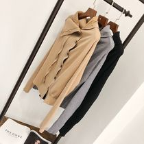 Cable Knit Casual Style Rib Street Style Long Sleeves Plain