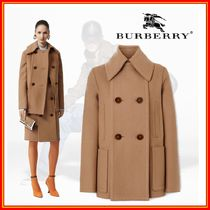 Burberry Short Casual Style Wool Cashmere Leather Medium Office Style