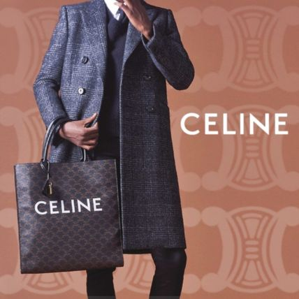 CELINE Triomphe Canvas Vertical Cabas Celine In Triomphe Canvas And Calfskin
