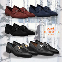 HERMES Moccasin Leather Loafers & Slip-ons