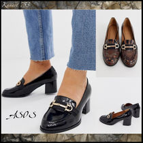 ASOS Round Toe Casual Style Enamel Faux Fur Other Animal Patterns