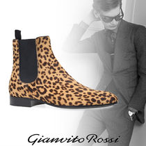 Gianvito Rossi Leopard Patterns Street Style Leather Boots