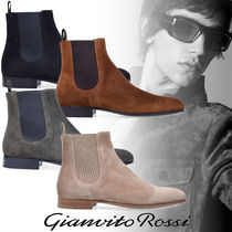 Gianvito Rossi Suede Street Style Plain Leather Boots