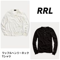 RRL Henry Neck Long Sleeves Plain Cotton Long Sleeve T-Shirts