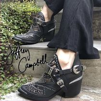 Jeffrey Campbell Cowboy Boots Plain Toe Casual Style Blended Fabrics Studded