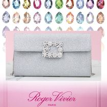 Roger Vivier Casual Style Suede Chain Party Style Elegant Style Clutches