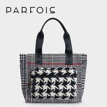 PARFOIS Other Check Patterns Casual Style Faux Fur Totes