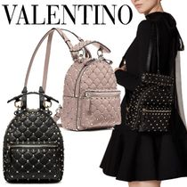 VALENTINO Casual Style Lambskin Studded Plain Leather Party Style