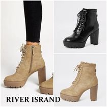 River Island Mountain Boots Rubber Sole Lace-up Casual Style Suede