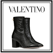 VALENTINO Plain Toe Casual Style Block Heels Office Style