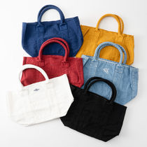Ron Herman Casual Style Unisex Canvas Denim Plain Logo Totes