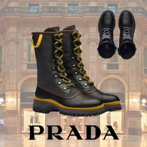PRADA Plain Leather Ankle & Booties Boots