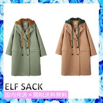 ELF SACK Casual Style Wool Blended Fabrics Street Style Plain Long