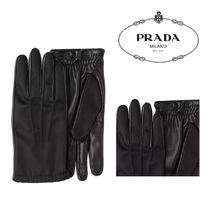 PRADA Nylon Leather Leather & Faux Leather Gloves