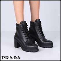 PRADA Round Toe Lace-up Plain Leather Block Heels Lace-up Boots