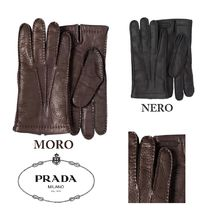 PRADA Cashmere Plain Leather Leather & Faux Leather Gloves