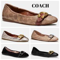 Coach STANTON Monogram Velvet Plain Leather Ballet Shoes