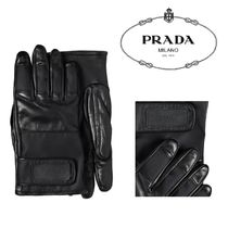 PRADA Cashmere Nylon Leather Leather & Faux Leather Gloves