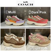 Coach Round Toe Rubber Sole Casual Style Plain Low-Top Sneakers