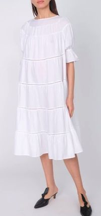 Casual Style Flared Plain Cotton Long Puff Sleeves Dresses