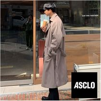 ASCLO Street Style Plain Long Oversized Trench Coats