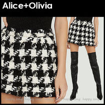 Alice+Olivia Short Other Check Patterns Casual Style Wool Nylon