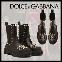 Dolce & Gabbana Mountain Boots Casual Style Blended Fabrics Studded Leather