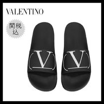 VALENTINO Monogram Unisex Bi-color Plain Shower Shoes Shower Sandals