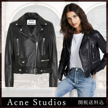 Acne Plain Leather Biker Jackets