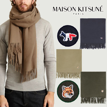 Unisex Wool Street Style Plain Other Animal Patterns Khaki