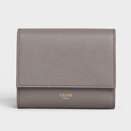 CELINE Tri Fold Leather Street Style Folding Wallets
