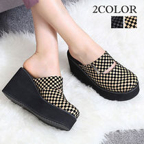 Gingham Platform Round Toe Casual Style Faux Fur