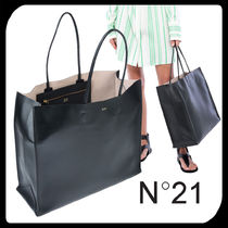 N21 numero ventuno Plain Leather Office Style Handbags