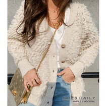 Casual Style Long Sleeves Plain Medium Cardigans