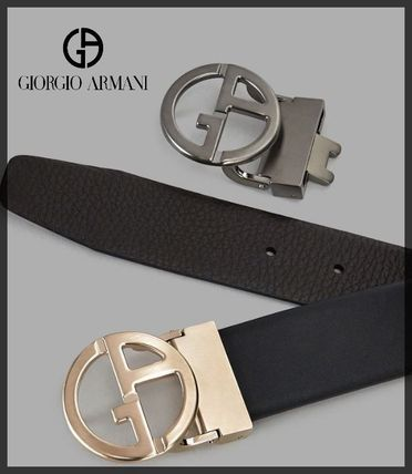 Plain Leather Logo Belts