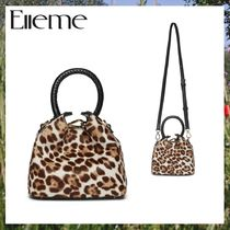 elleme Leopard Patterns Casual Style 2WAY Leather Party Style