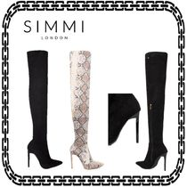 SIMMI Casual Style Suede Street Style Pin Heels Python