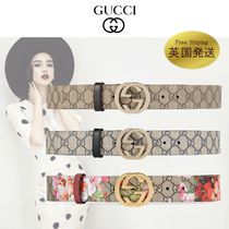 GUCCI GG Supreme Street Style Elegant Style Belts