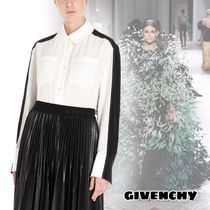 GIVENCHY Stripes Silk Long Sleeves Office Style Elegant Style