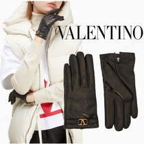 VALENTINO VLOGO Plain Leather Leather & Faux Leather Gloves