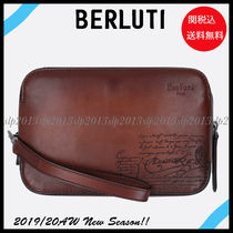 Berluti Blended Fabrics Leather Clutches