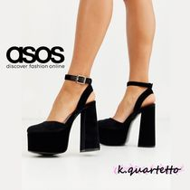 ASOS Plain Toe Casual Style Velvet Plain Party Style Chunky Heels
