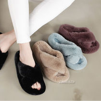 Open Toe Casual Style Faux Fur Plain Slippers Sandals