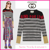 GUCCI Crew Neck Stripes Casual Style Cashmere Long Sleeves