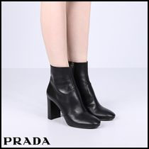 PRADA Round Toe Plain Leather Block Heels Ankle & Booties Boots