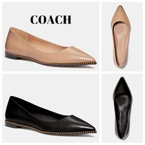 Coach Plain Toe Round Toe Rubber Sole Casual Style Studded Plain