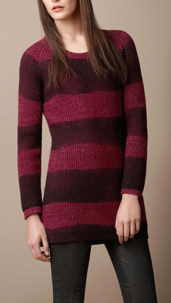 Crew Neck Stripes Casual Style Wool Long Sleeves Cotton
