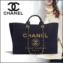 CHANEL Unisex Canvas Blended Fabrics Street Style A4 2WAY Chain